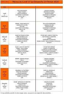 LES MENUS DE L'EHPAD DU LUNDI 17 AU DIMANCHE 23 FEVRIER 2020: